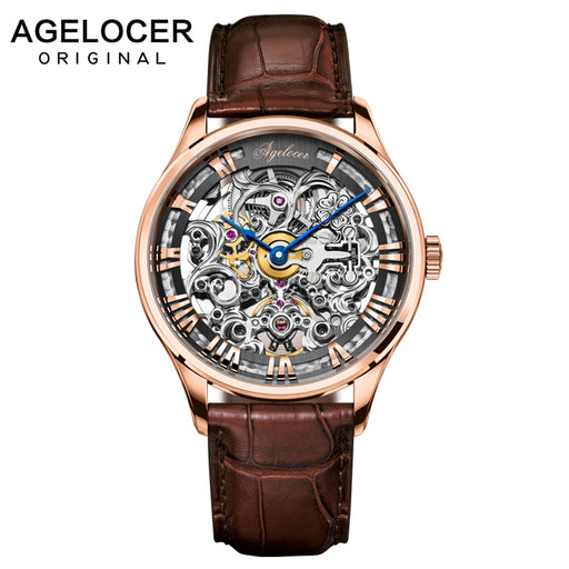 AGELOCER Skeleton Power Reserve 80 Hours Mechanical Watch Men Automatic Gold Leather Mechanical Wrist Watches Reloj Hombre 2019
