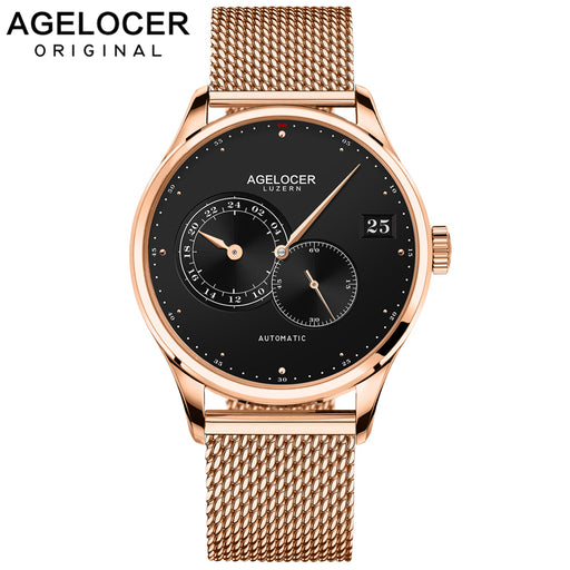 AGELOCER Swiss Brand Luxury Business Automatic Watches Men Stainless Steel Band Gold Waterproof Men Watches Male orologio uomo