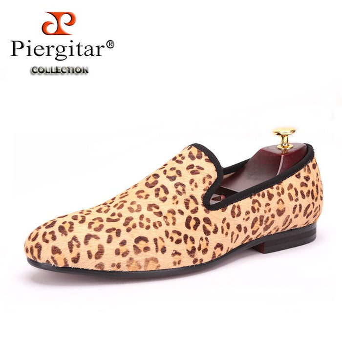 Piergitar 2019 New Horsehair Leopard Print Men Suede shoes Handmade party Men's Loafers Smoking Slipper Men Flats plus size