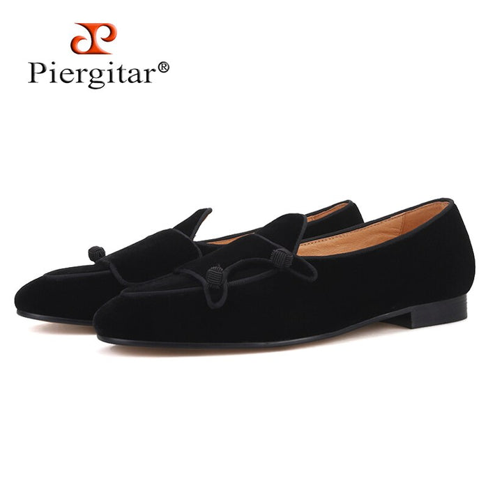 Piergitar 2019 handmade black colors men velvet shoes Party and wedding men dress shoes plus size men's loafers smoking slippers