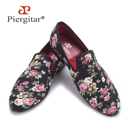 Piergitar 2018 New Handmade Flower printing Men Canvas Shoes Men Wedding and Party Loafers Men Flats Size US 4-17 Free shipping