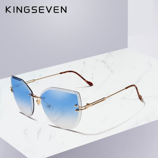 KINGSEVEN Luxury Rimless Cat Eye Sunglasses Women Gradient Color Sun Glasses Vintage Brand Designer Shades Eyewear Oculos N807