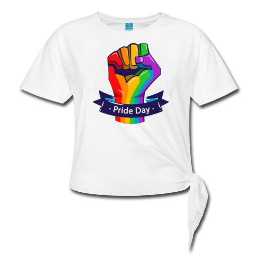 Women' s Knotted T-Shirt - Pride Day - white