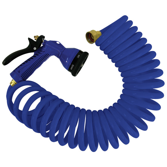 Whitecap 15 Blue Coiled Hose w-Adjustable Nozzle [P-0440B]