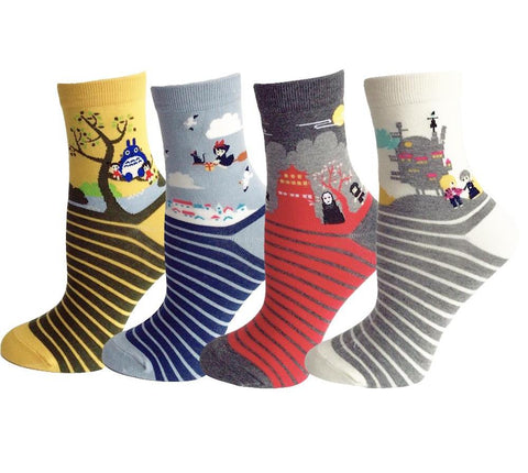 Studio Ghibli Striped Socks