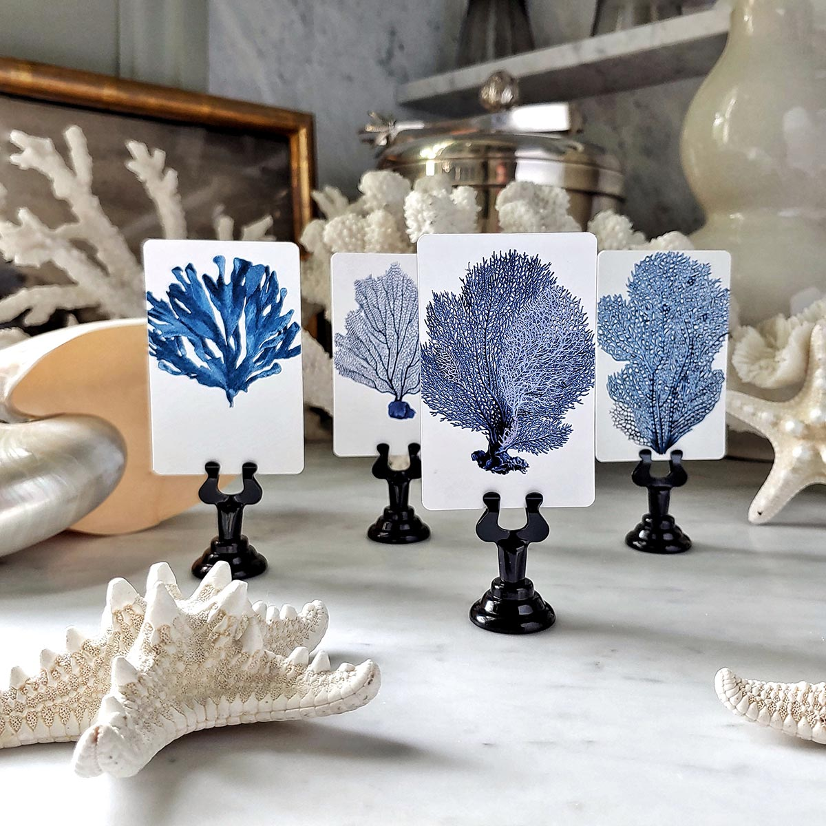 The Punctilious Mr. P's 'Blue Seaweed & Coral' place cards