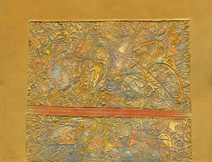 Thomas Clements Artist, Gold Relief Abstract Structure Giclée Print.