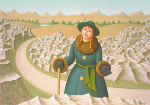 Thomas Clements Artwork of Imaginary Woman on Road with a Cane, Rocks and Mountains Painting Giclée Print
