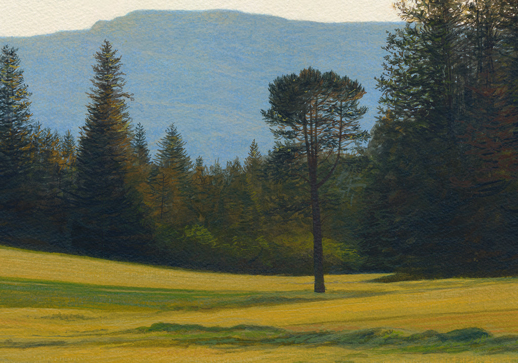 Green Pasture with Creek and Mountain Painting Giclée Print Crop 2