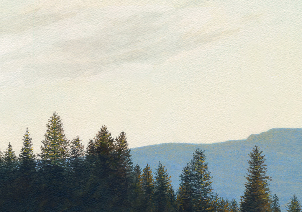 Green Pasture with Creek and Mountain Painting Giclée Print Crop 3