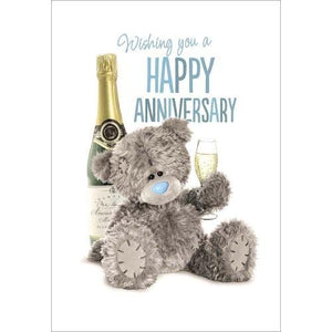 Bear with Bubbly Glass - Anniversary Card