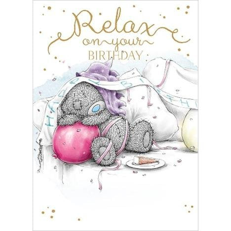 Bear sleeping with balloon - Relax Birthday Card