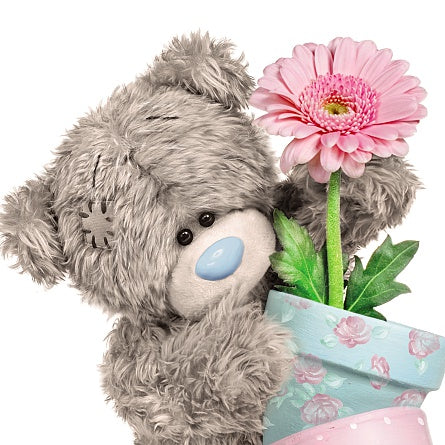 Bear with Flower Pot With Love Greetings Card (3D Holographic)
