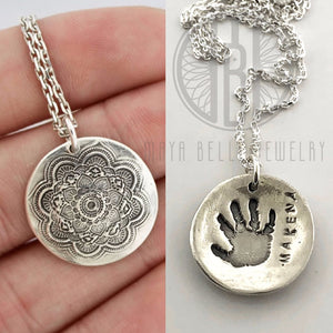 Large Mandala Necklace with Baby Hand or Footprint in Silver or Bronze