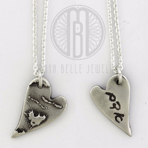 Baby Print with Handwriting Heart Pendant Necklace