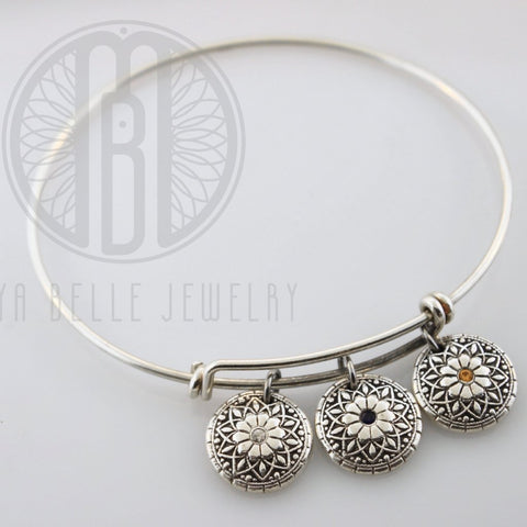 Mandala Fingerprint Bangle with Set Birthstones - Maya Belle Jewelry