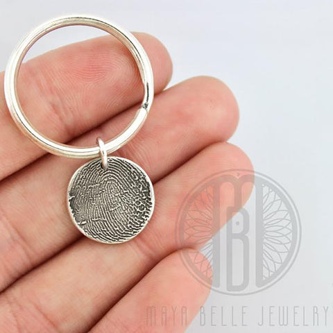 Silver Fingerprint Charm Keychain with Choice of Shape