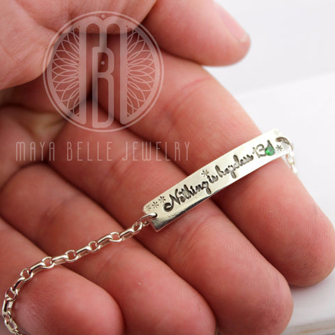 Custom Engraving Bracelet with inlaid Birthstone
