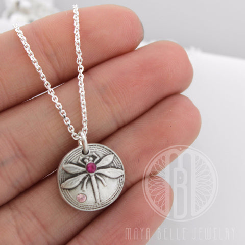 Dragonfly Pendant in Silver or Bronze with Inlaid Birthstone
