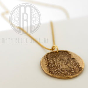 Large Fingerprint Necklace with Engraving on the back