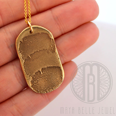 Dog Tag with Two to Three Fingerprints in Silver and Bronze