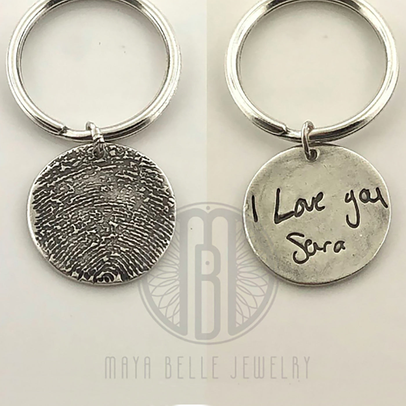 Fingerprint Keychain with Custom Handwriting on the Back in Silver
