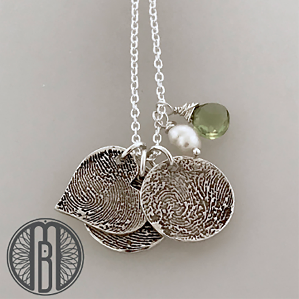 Three Fingerprints Necklace with Choice of Shape and Birthstones