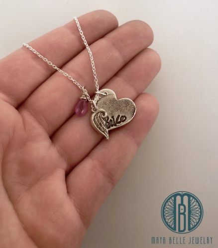 Large Fingerprint with Angel Wing Necklace With Handwriting Birthstone and Additions on the Back