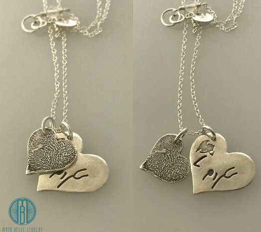 Necklace with One Handwriting and One Fingerprint Charm In Choice of Silver or Bronze and Shape
