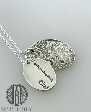 One Handwriting and One Fingerprint Charm Necklace In Choice of Silver or Bronze and Shape