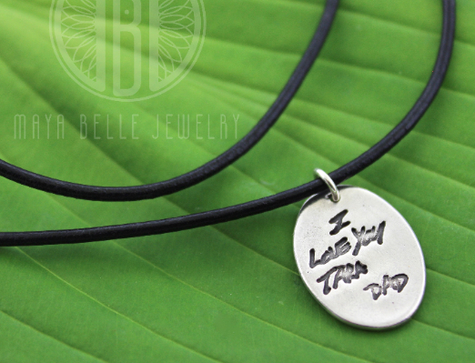 Fingerprint Necklace with Handwriting on the Back on Leather Cord