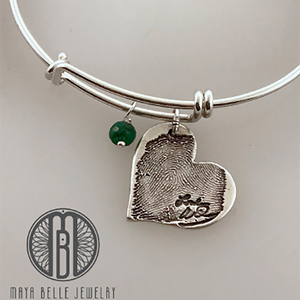 Handwriting and Fingerprint Pendant Bangle with Choice of Birthstone and Shape