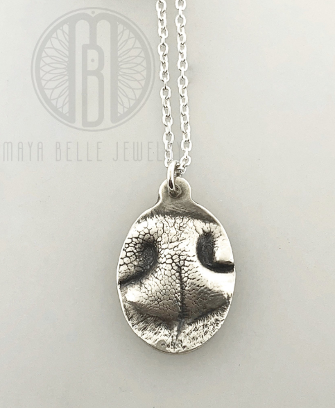Dog Nose (or Paw) Print Pendant Necklace in Choice of Metal and Shape