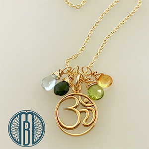 Golden Ohm Necklace Customized with Birthstones