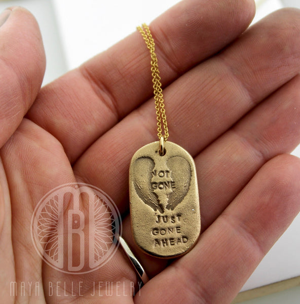 """Not Gone Just Gone Ahead"" Fingerprint Pendant in Your Choice of Either Bronze or Silver"