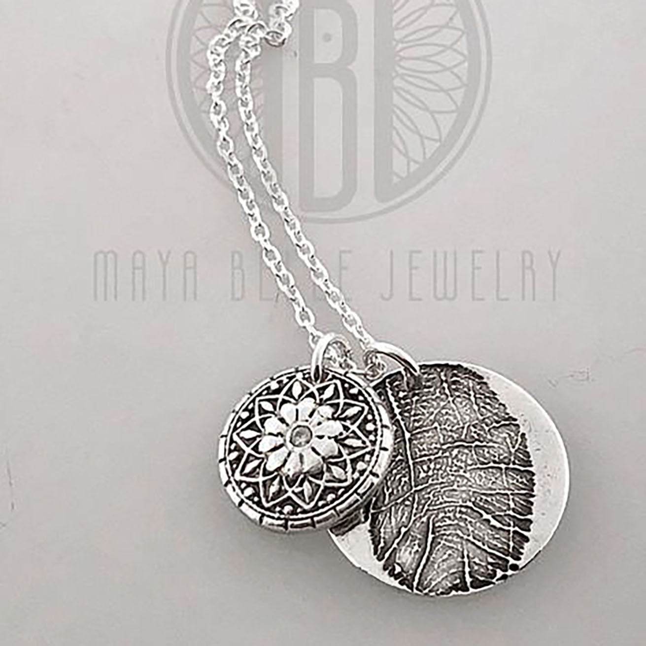 Mandala Fingerprint Charm and One Large Fingerprint Charm