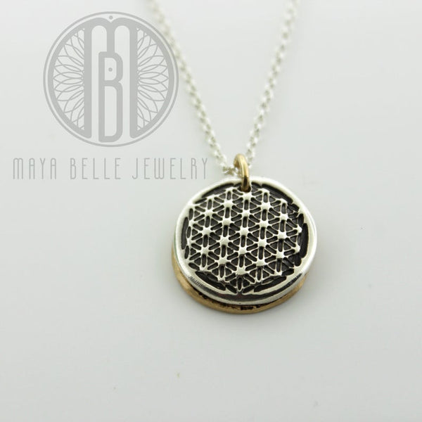 Sacred Geometry, flower of life fingerprint locket • thumb print locket in gold and silver • memorial locket