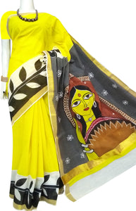 Beautiful Yellow Color Kerala Cotton Saree With Hand Painted