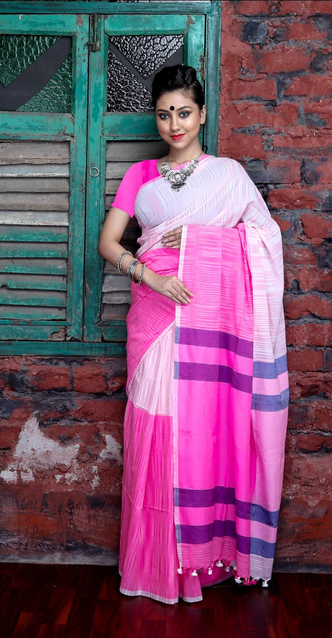 Pink and white color combination cotton hand finished saree