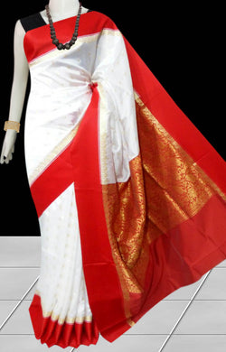 Beautiful white base with red border cotton silk saree