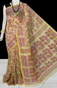 Cream And Purple Color Combination Dhakai Jamdani Saree