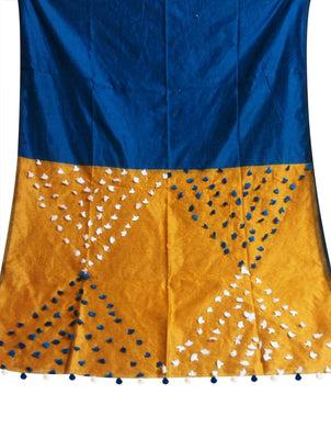 Blue & Yellow color combination cotton silk saree, decorated with pompom
