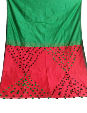 Green & Red color combination cotton silk saree, decorated with pompom