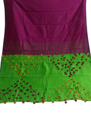 Purple & Green color combination cotton silk saree, decorated with pompom