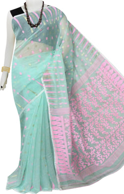 Pink And Cyan Color Jamdani Saree