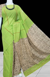 Pista Green Mulmul Cotton Saree