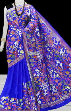 Bright Blue Kantha stitch on Bangalore silk saree