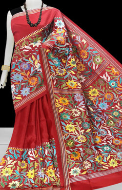 Red Kantha stitch thread work with base on Bangalore silk saree