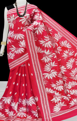 Pink Kantha stitch thread work with base on Bangalore silk saree