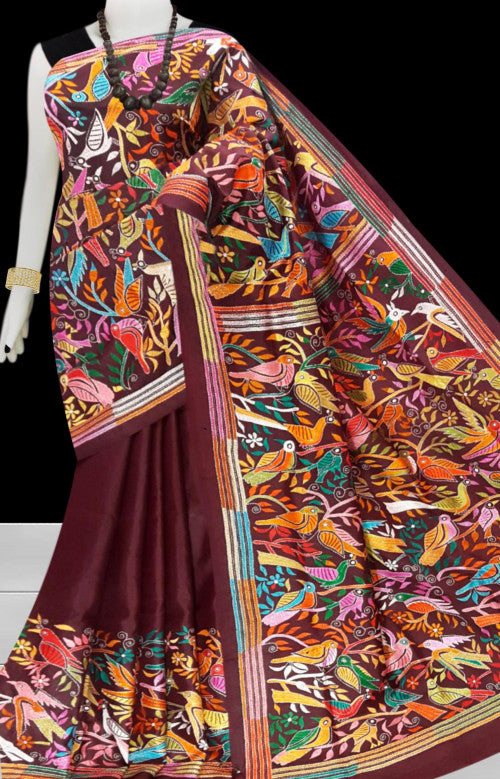 Brown Kantha stitch thread work with base on Bangalore silk saree